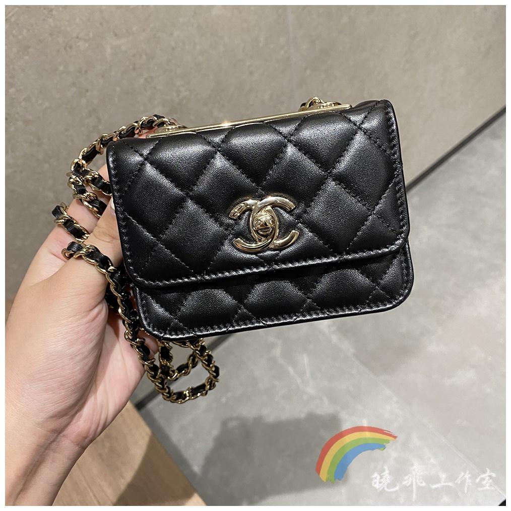 【現貨】chanel香奈兒包包 mini Trendy CC 21B新款黑色金屬片woc