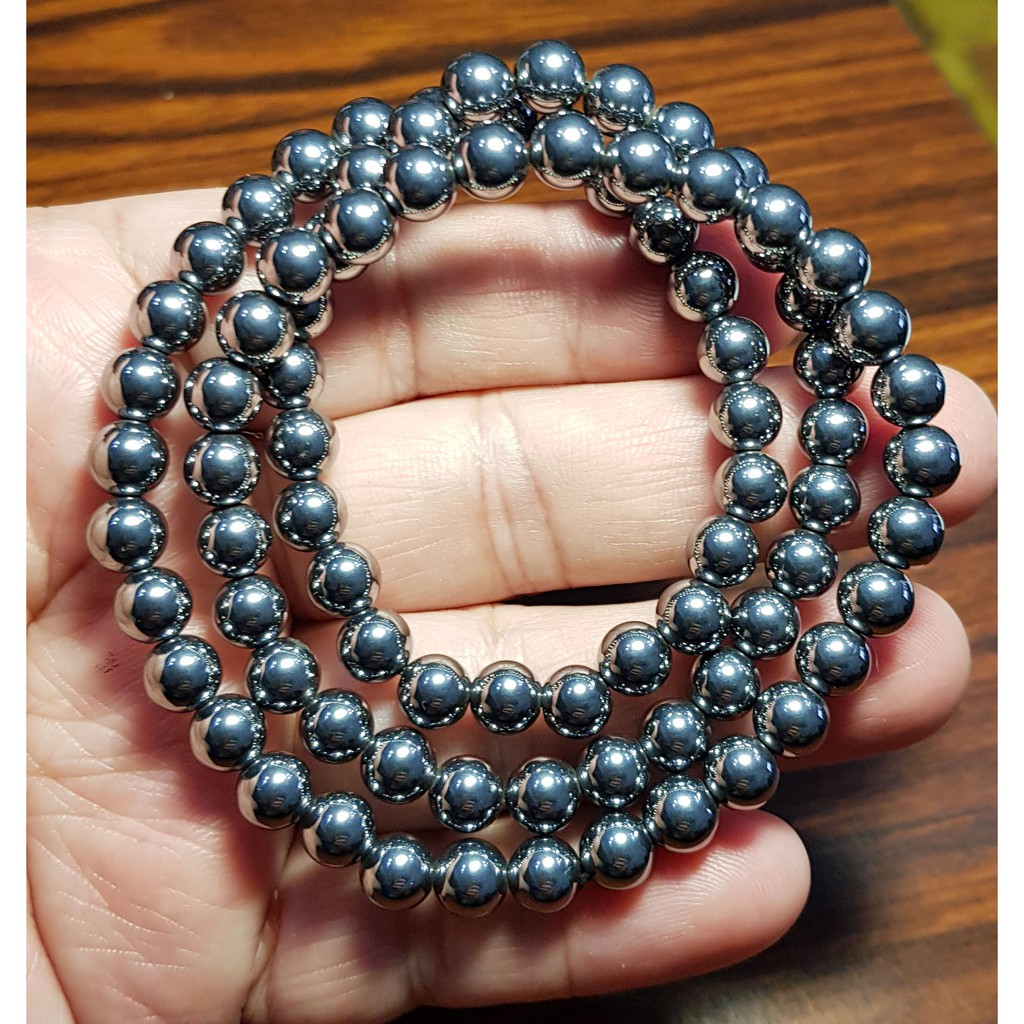 天然 太赫茲 鈦赫茲手鍊 3圈 6mm+ 能量石手珠手鍊DIY串珠項鍊 ❤水晶玉石特賣#A1099