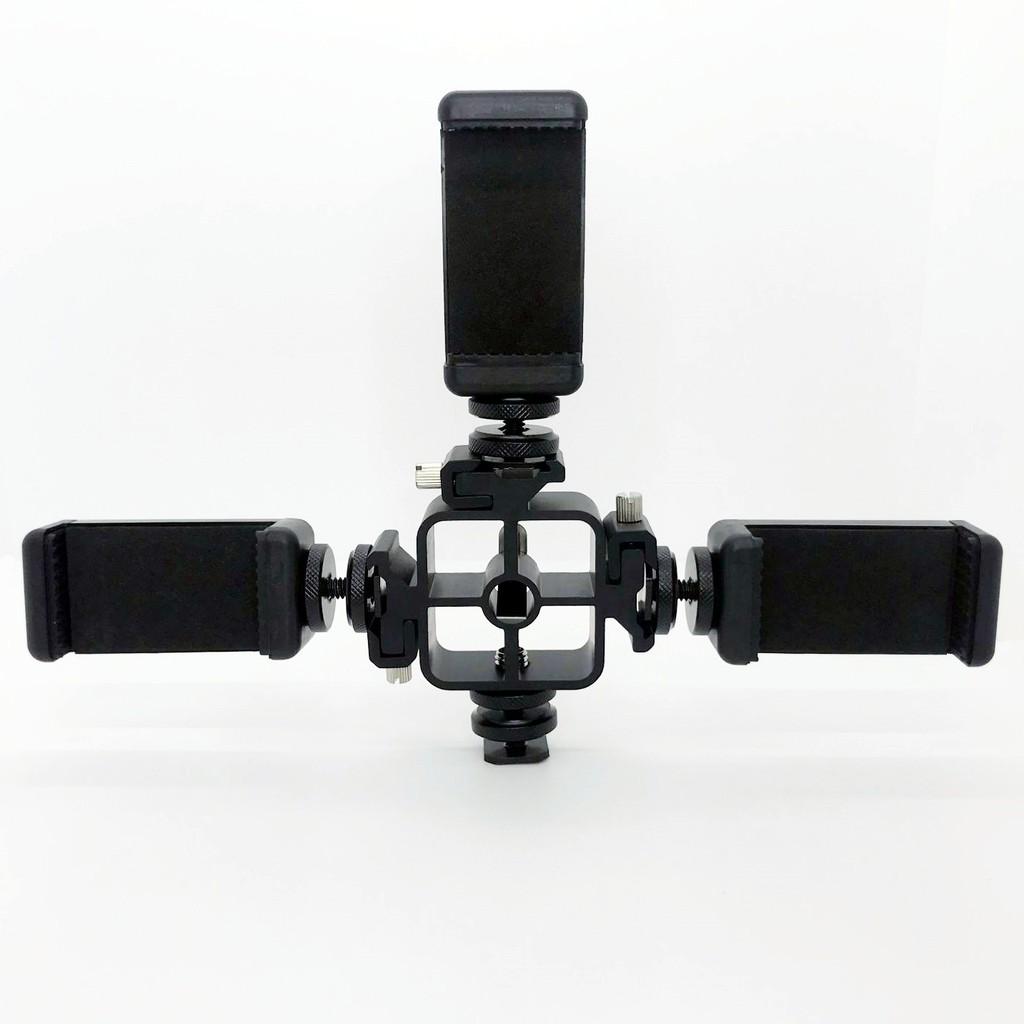 l3現貨三頭熱靴+熱靴螺絲+手機夾 攝影燈監視器支架手機平板取景器