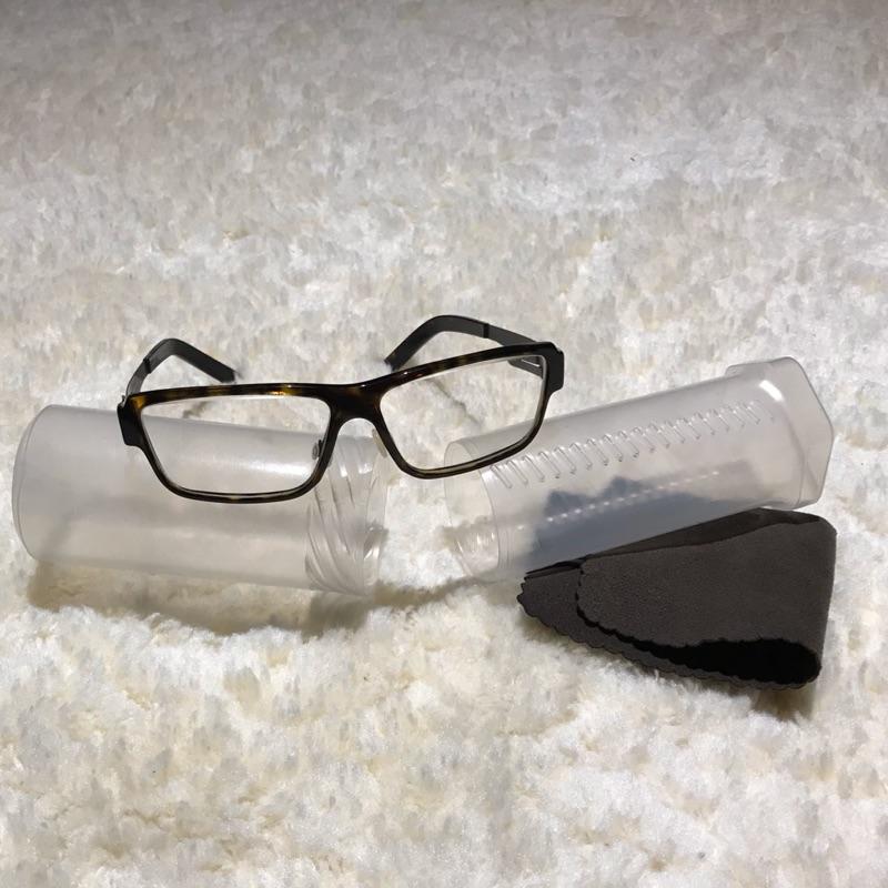德國精品銀鏡ic! Berlin model haytham 玳瑁棕色 黑色鋼眼鏡腿 設計師品牌 型男 無鏍絲薄鋼