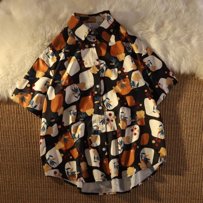 時尚印花短袖襯衫開衫上衣女 氣質款寬鬆顯瘦設計感小眾 個性減齡ins潮洋氣小衫韓版翻領襯衣上衣
