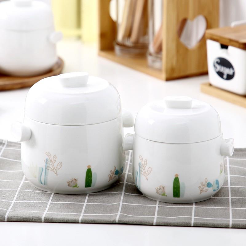【YIWANG】雙蓋燕窩燉盅陶瓷帶蓋隔水燉湯盅碗家用大容量雙耳燉盅甜品盅燉罐