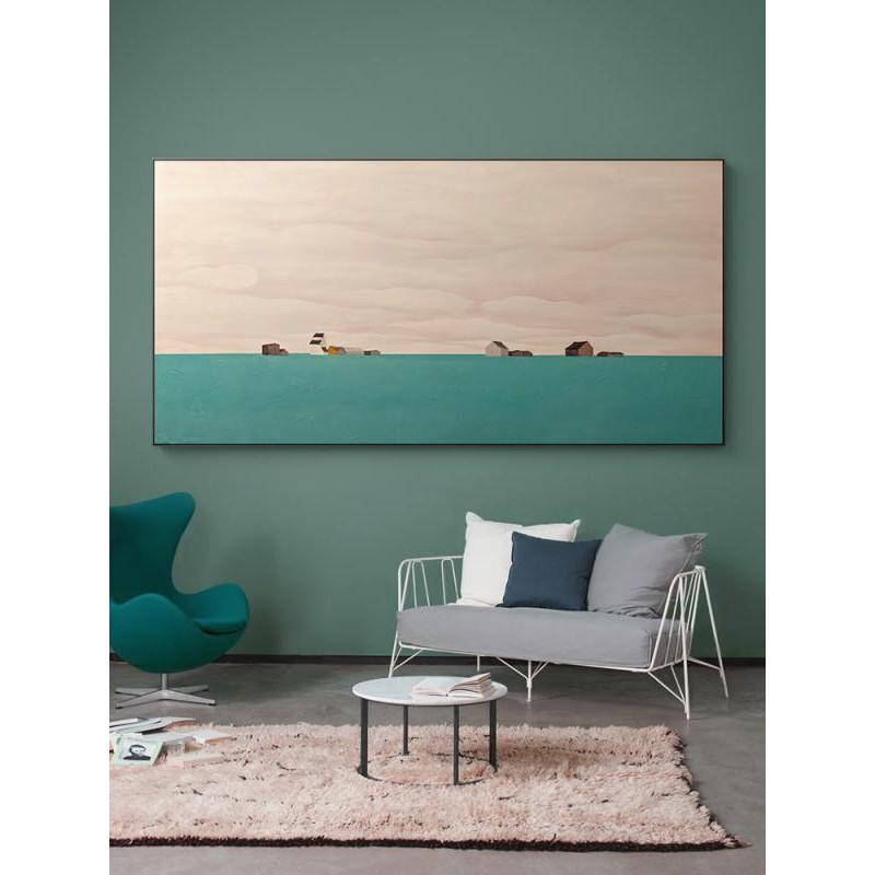 藝術畫/現貨/北歐客廳裝飾畫現代簡約大幅壁畫沙發背景墻掛畫橫幅臥室風景油畫