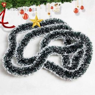 Miaomanyoga 200cm 彩色酒吧上衣絲帶花環白色深綠色甘蔗金屬絲派對聖誕樹裝飾品