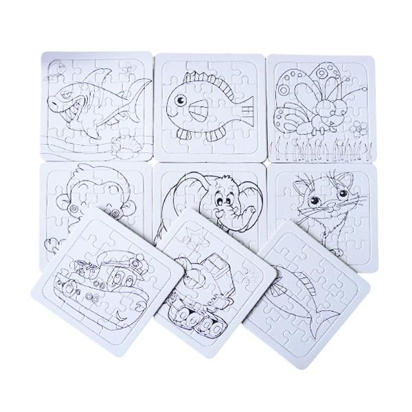 9602 卡通空白彩繪拼圖 塗鴉動物水果卡通拼圖 DIY彩繪益智拼圖