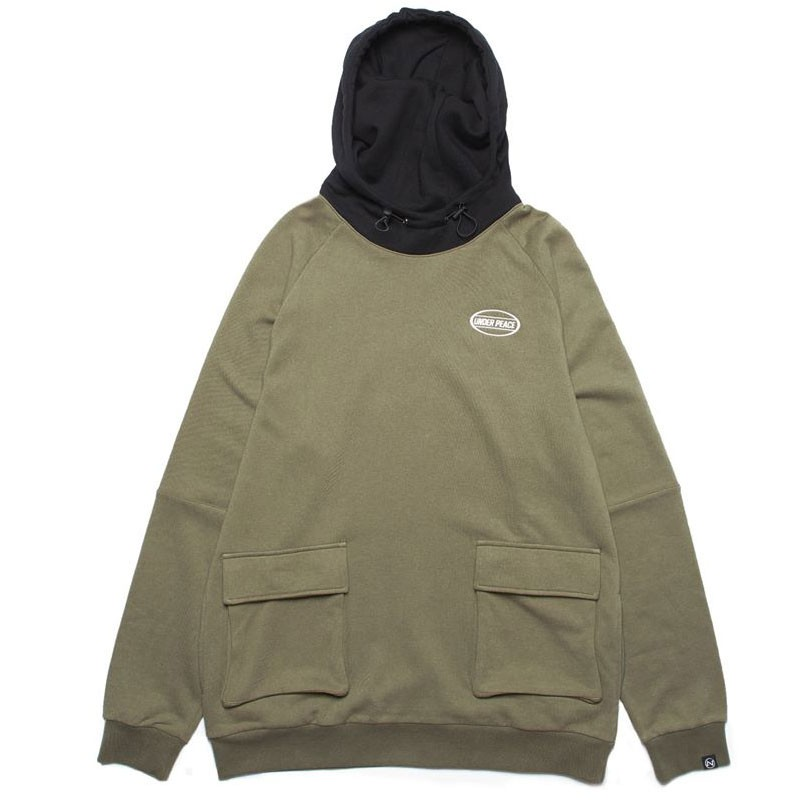 Under peace - 19AW BRICK / HIGH NECK HOODED 拚色 帽T (綠色)