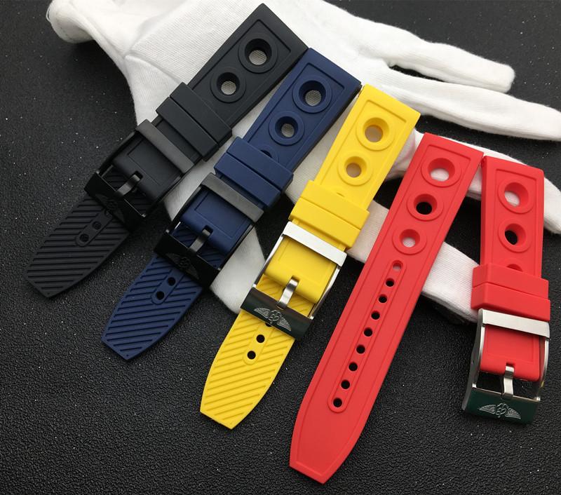 錶帶配件 適配Breitling百年靈黃狼黑鳥復仇者海洋文化硅膠手錶帶22mm24mm