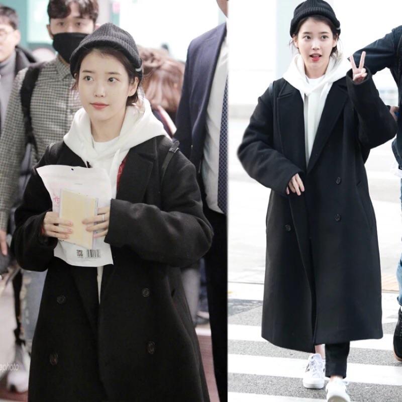 IU同款百搭黑色大衣