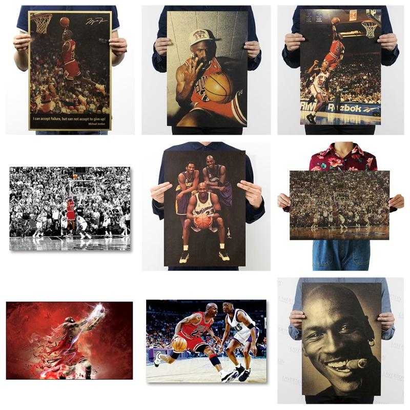 Nba 籃球 Allstar Michael Jordan 芝加哥公牛復古工藝紙海報裝飾牆貼 1 件