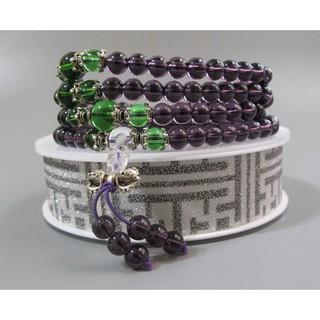 【古玩波波】特價出清 紫水晶配綠水晶多圈手鏈藏銀108顆念珠6mm--703284 臺中市
