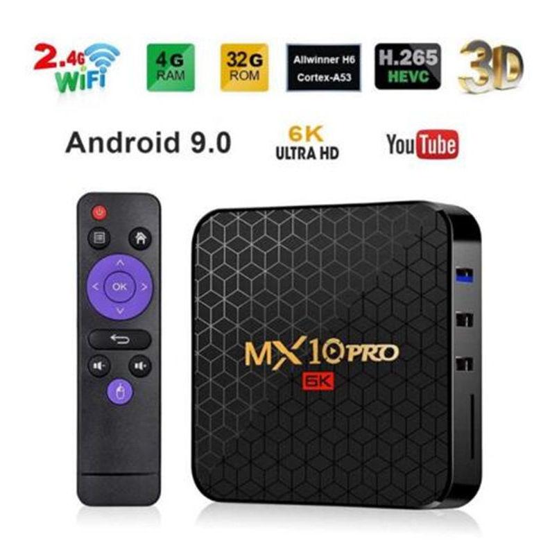 新品熱賣MX10 PRO h6电视盒 4GB+64GB 安卓9.0 6K智能网络播放器 tvbox