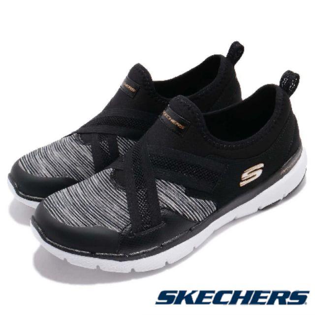 【MEI LAN】SKECHERS (女) Flex Appeal 3.0 健走鞋 襪套 記憶鞋墊 13073BKW 黑