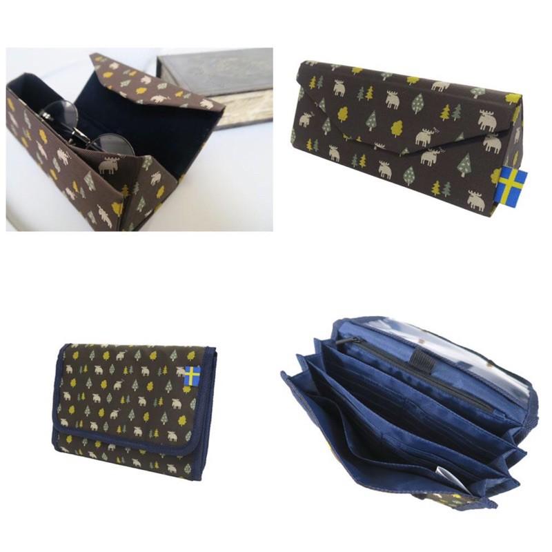 日本代購 MOZ 眼鏡盒 提花 沈穩 麋鹿 短夾 收納包 錢包