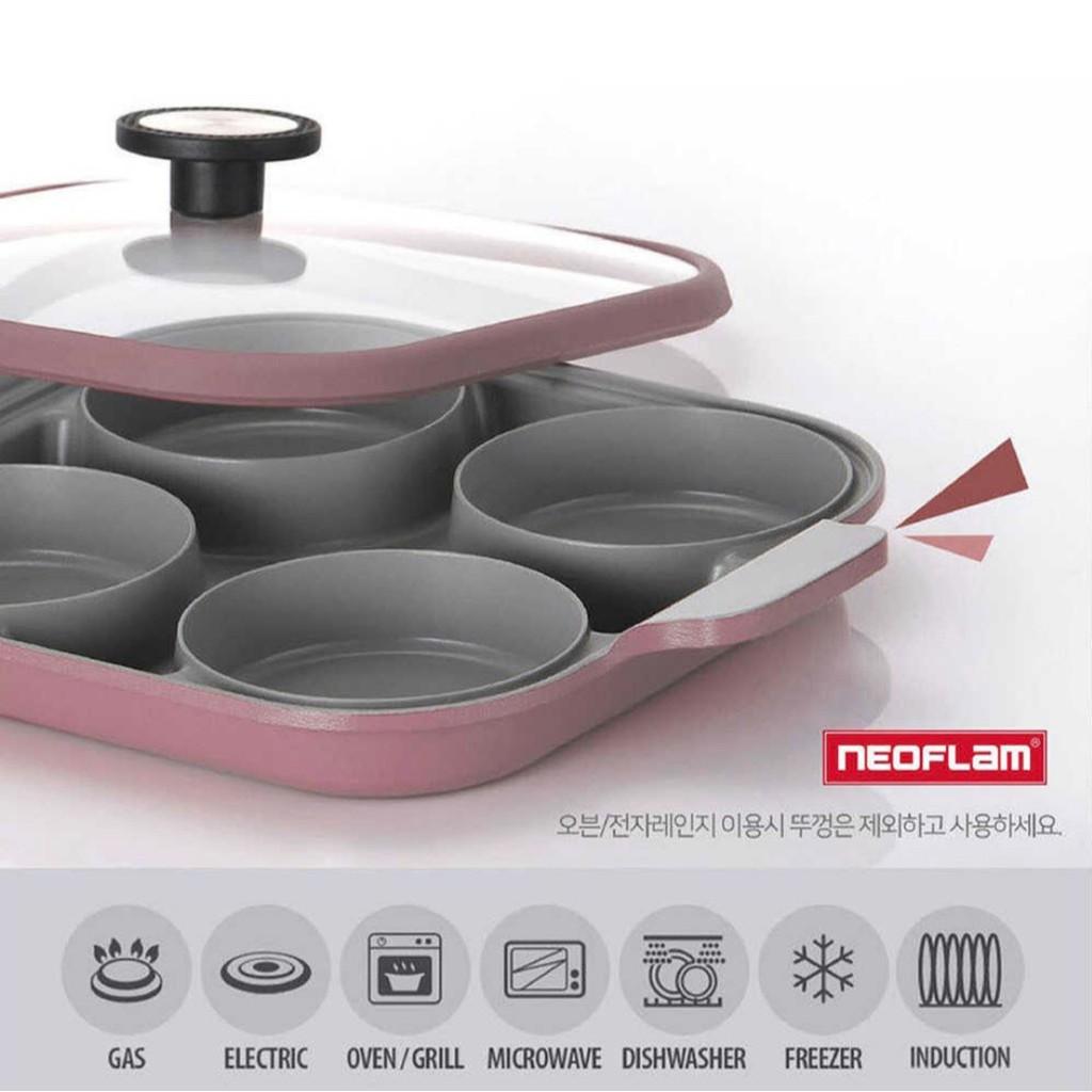 韓國NEOFLAM 雙耳四格平底鍋 含鍋蓋 IH爐/直火適用 粉色 丹麥粉 早餐料理神器 4格鍋 四格鍋