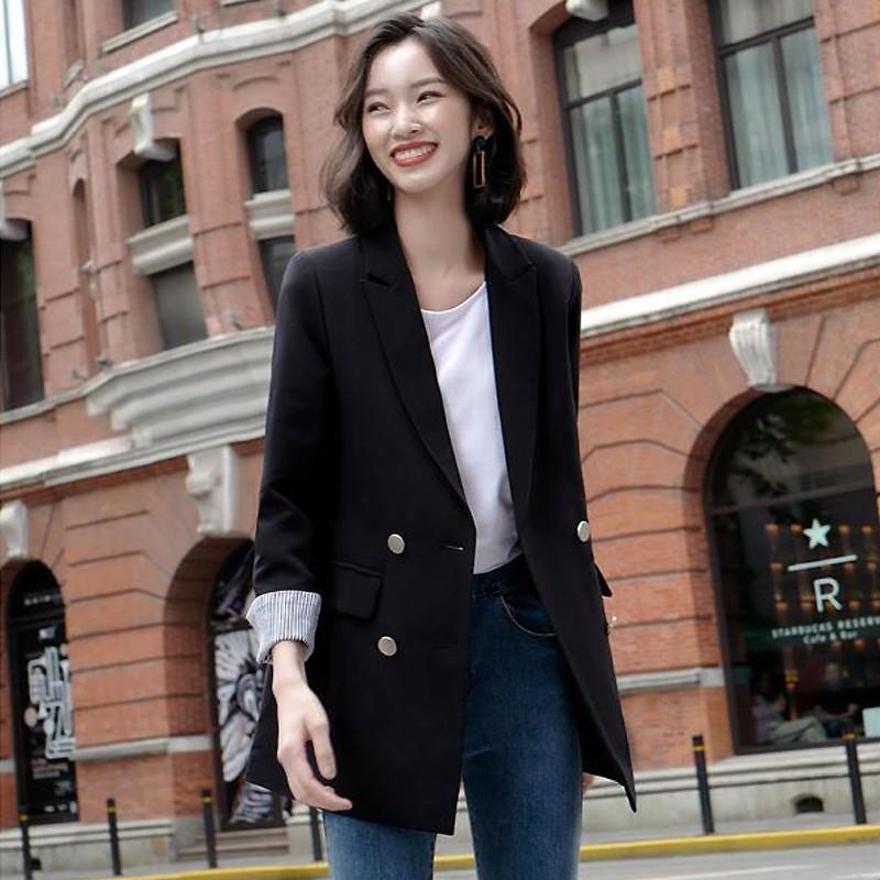 黑妞私藏 時尚上班族 修身排扣西裝外套 -CZ020440/C057
