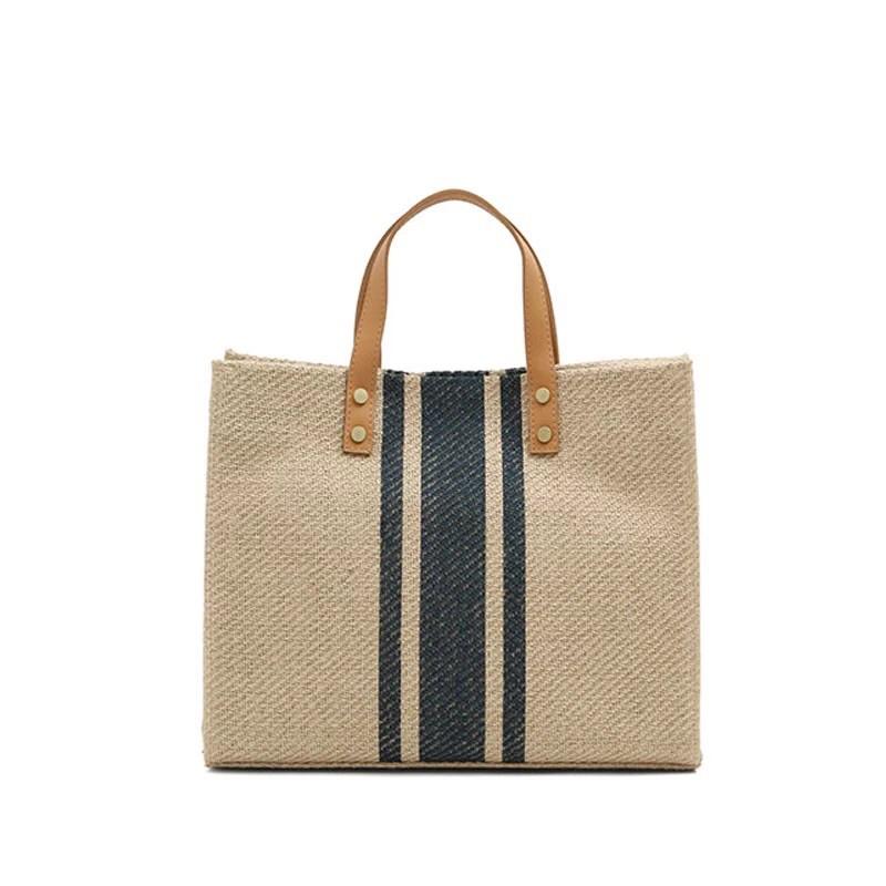 TASHUO 正韓韓版女士手提公文包OL職業商務通勤條紋簡約方形帆布包大容量包包單肩包斜挎包