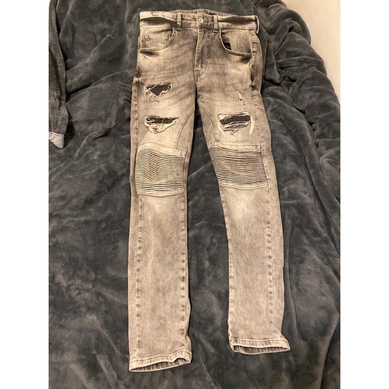 韓國牛仔褲 刀割破壞機車褲 類似balmain Amiri