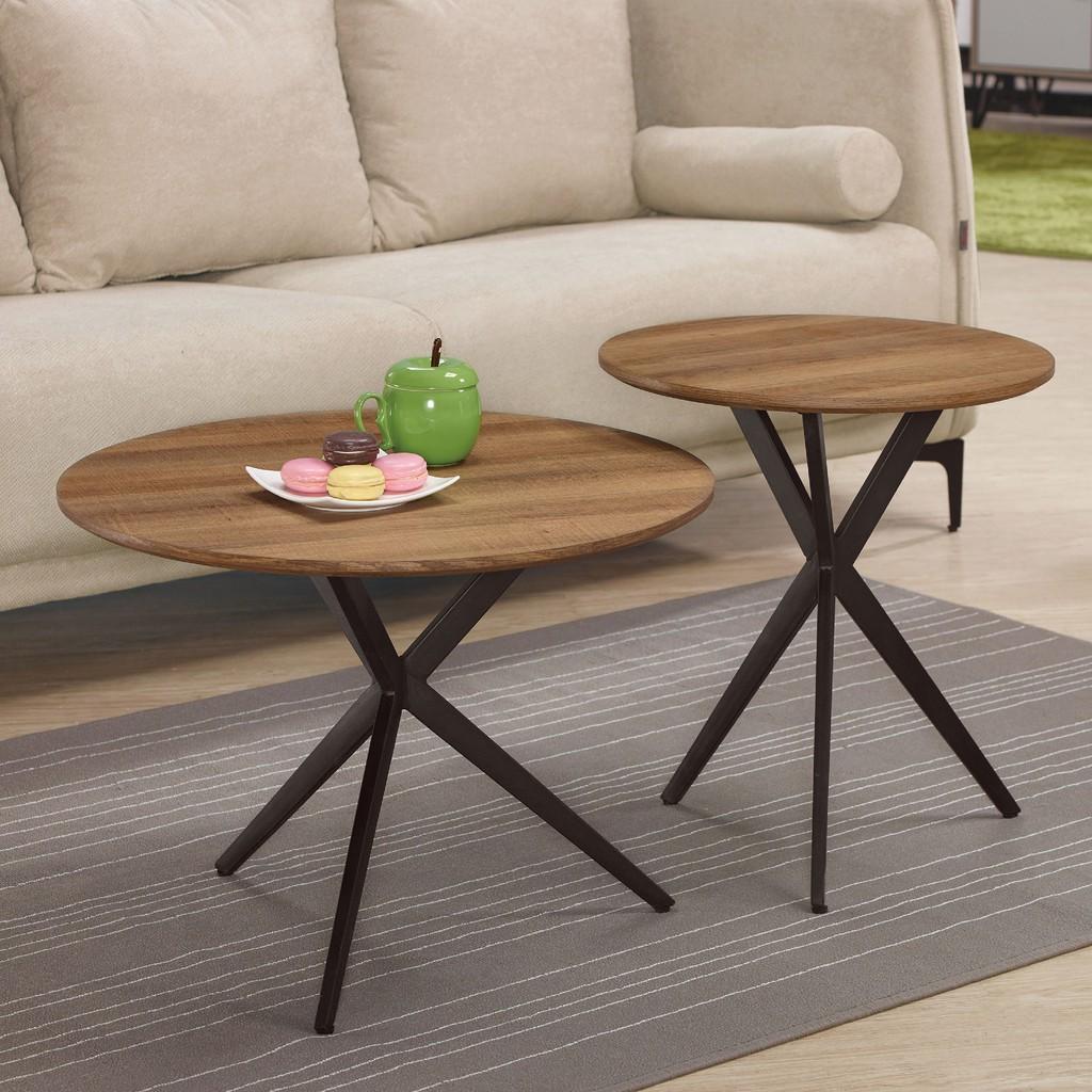 【60cm組合茶几-A323-2】實木原木玻璃 大理石長方桌 大小邊几 圓桌  【金滿屋】