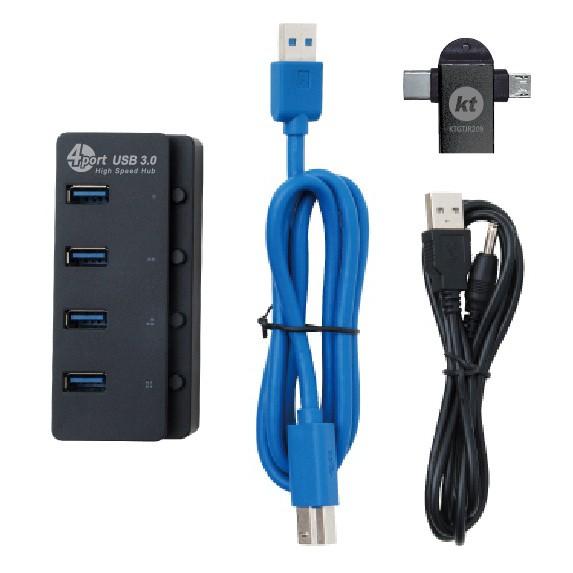 H5 4埠USB3.0+TYPEC 集線器1孔1開關 黑-HUB474