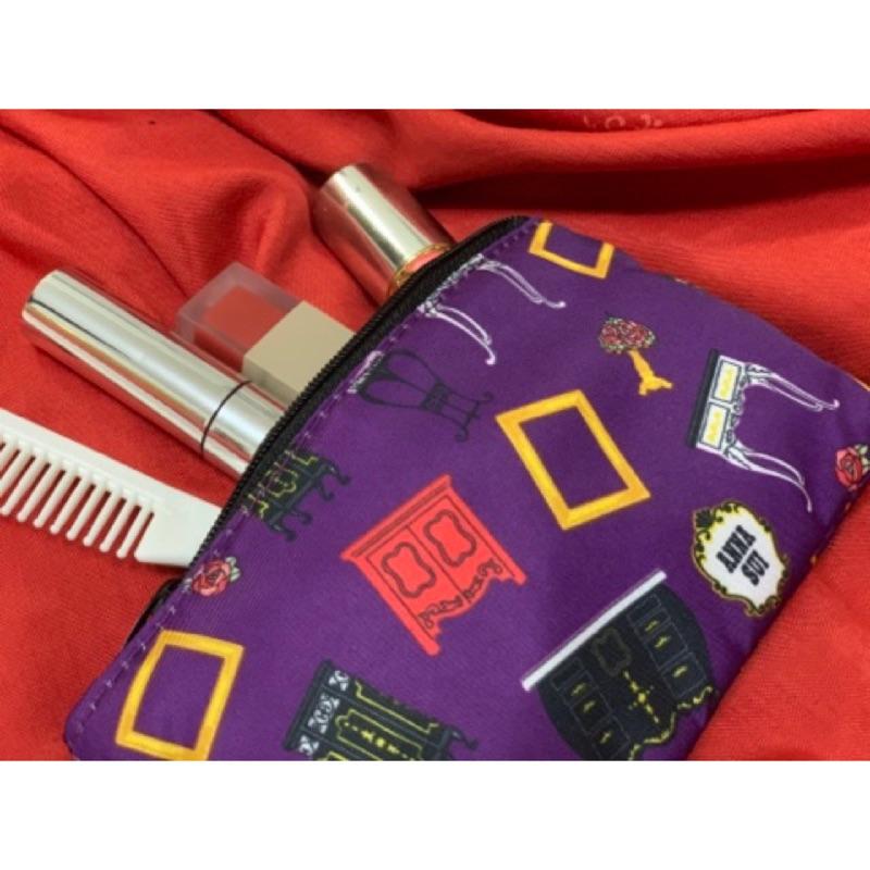 現貨/ANNA SUI 安娜蘇 滿額贈送包 詭譎紫剪貼風 方形小化妝包/萬用包/收納包