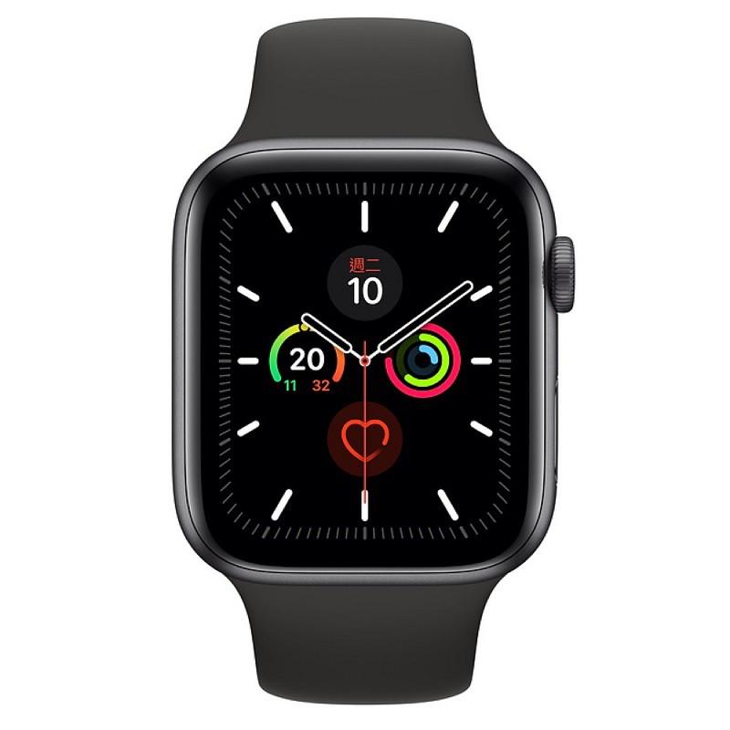 Apple Watch S5 GPS版 44mm 太空灰色鋁金屬-黑色運動型錶帶