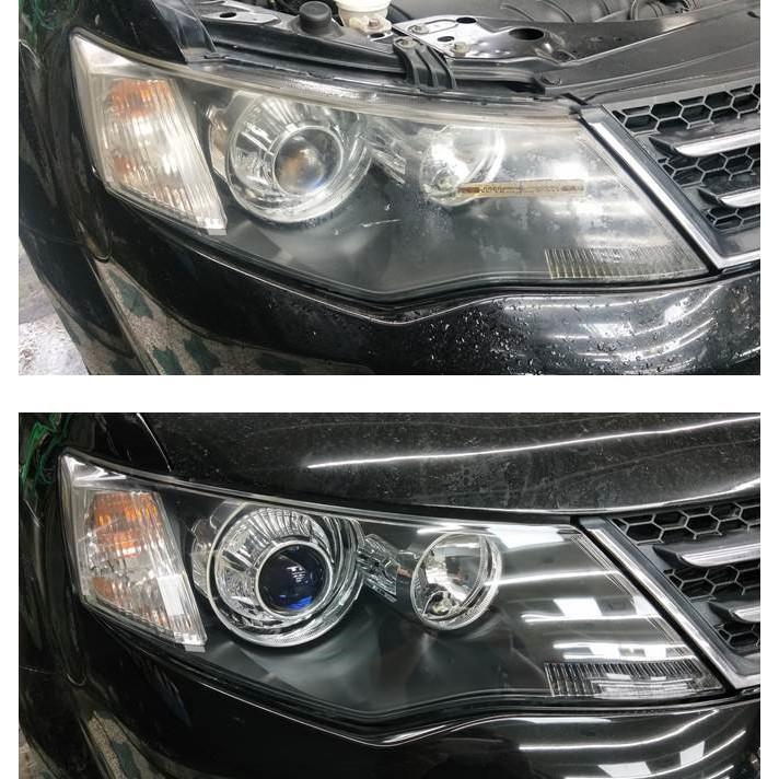 大燈快潔現場施工 Mitsubishi 三菱 OUTLANDER 原廠車大燈泛黃霧化拋光修復翻新
