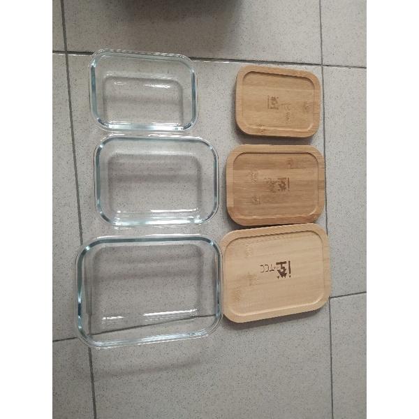 股東會紀念品 台泥/中橡 竹蓋環保玻璃保鮮盒
