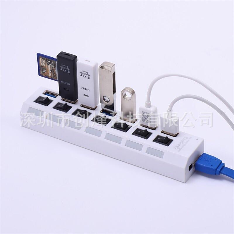 💥工廠強力推薦💥台灣製芯片💥極速USB3.0HUB 7口分線器 3.0集線器 帶開關USB延長線 一對七多孔插座