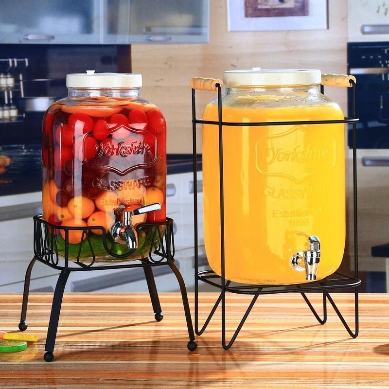 冷水壺 冷水瓶 水壺 無鉛玻璃壺 開關瓶 果汁罐冷飲冷水壺 大容量不耐熱水龍頭飲料桶