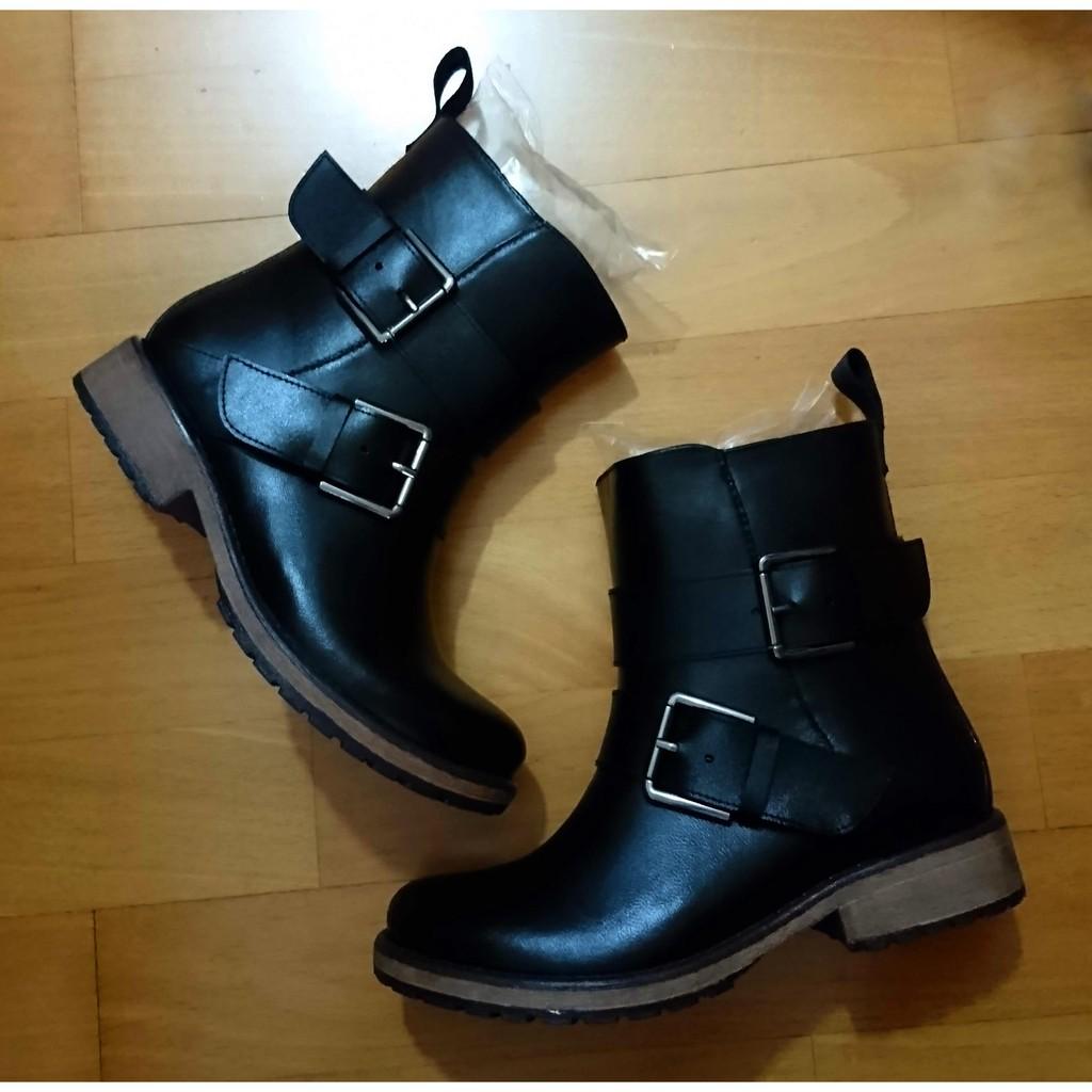 中性風皮革質感雙釦帶雨短靴(百搭黑)37