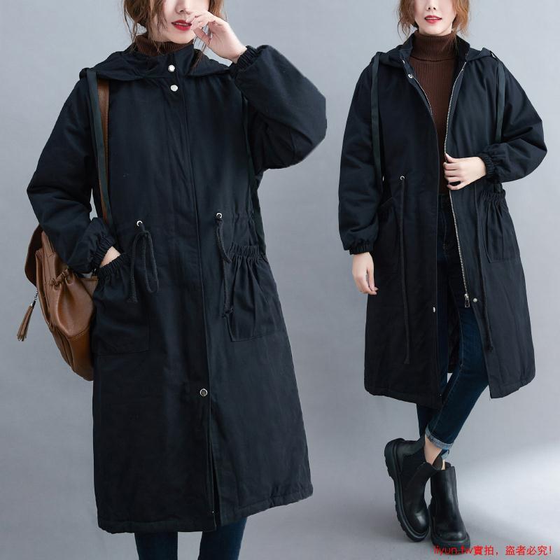 『超美女裝』胖女人夾棉加厚大衣女寬松特大碼減齡連帽棉服外套女秋冬新款2020