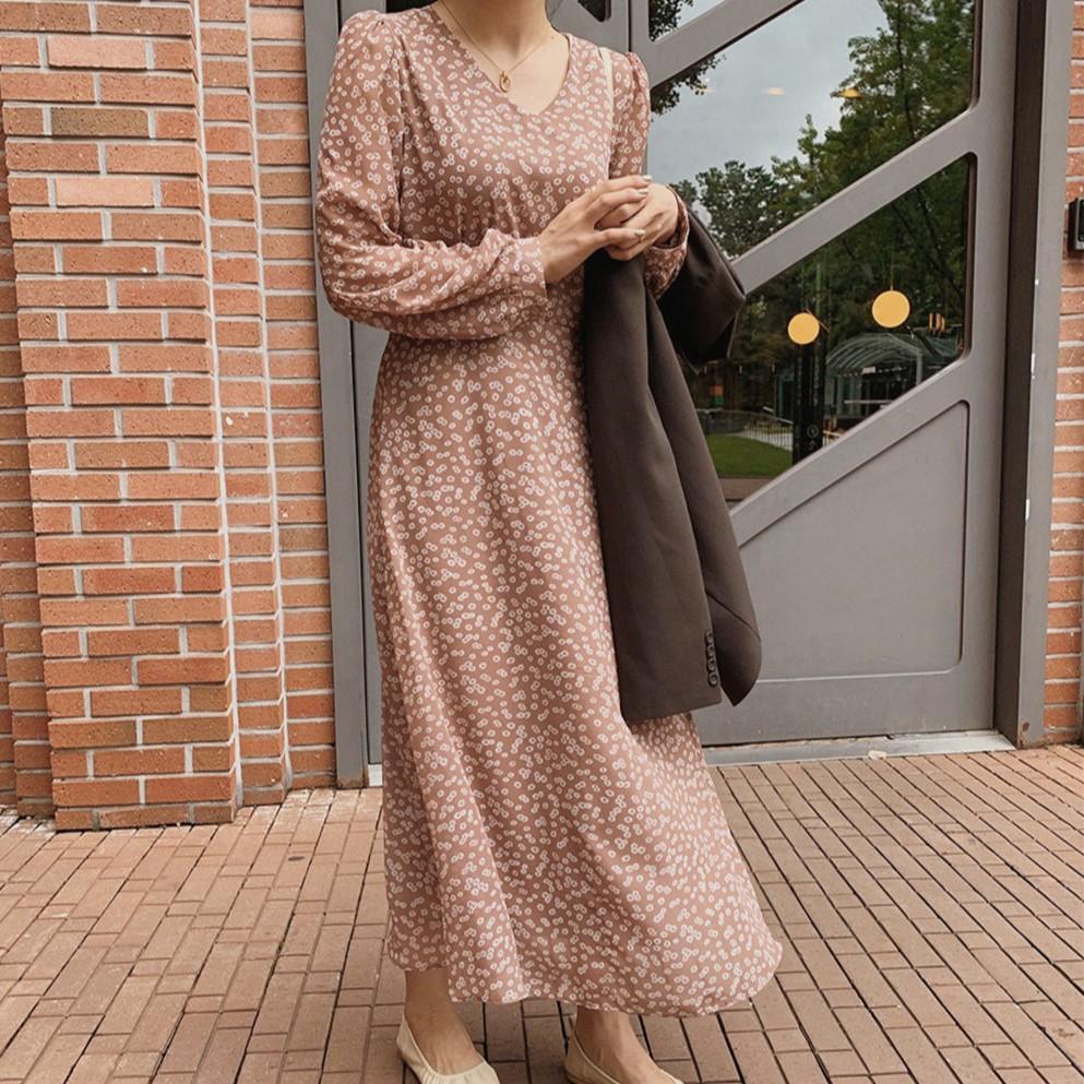 37456 韓版甜美V領碎花雪紡中長款洋裝洋装