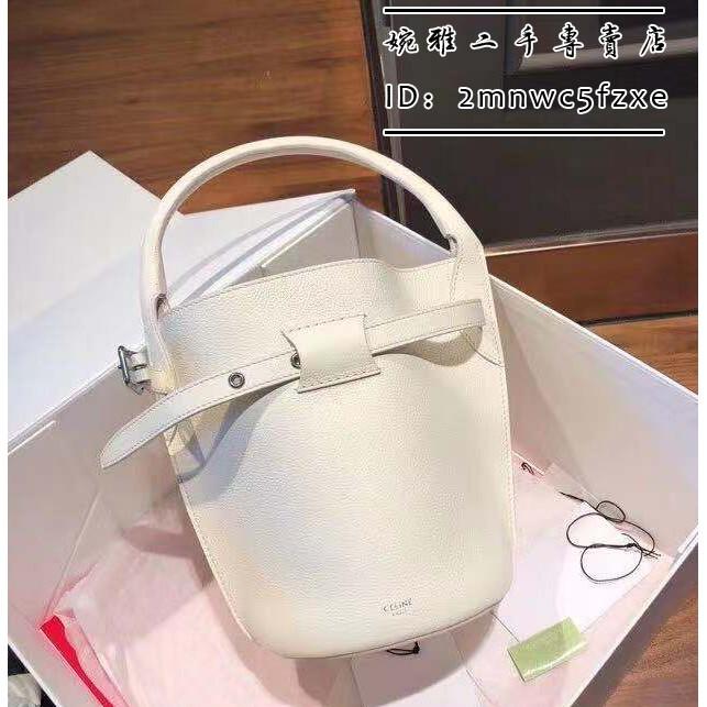 (婉雅二手)CELINE賽琳/思琳 BIG BAG BUCKET NANO 白色小牛皮 水桶包 單肩/斜挎/肩背包 手提