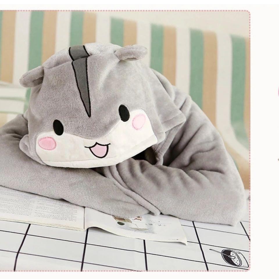 [現貨] 倉鼠法蘭絨連帽披肩,學生辦公室午睡空調,懶人披肩 旅行保暖毛毯披肩 沙發毯 法蘭絨毛毯
