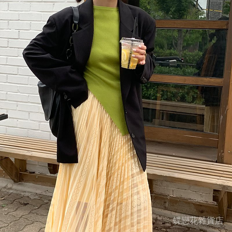 【MDFE5】女寬鬆黃色 小西裝形設計感復古廓小眾休閒外套