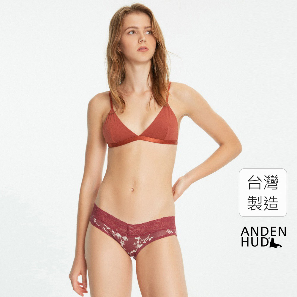 【Anden Hud】春寒.V蕾絲低腰三角內褲(暗紅-花) 台灣製