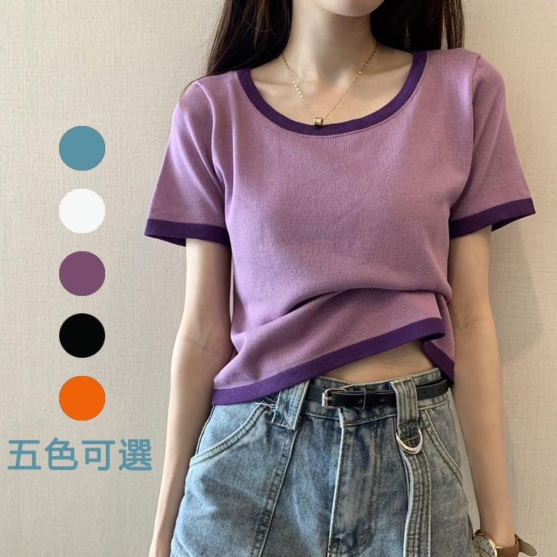 女生 短版 短袖 素色 素面 撞色 t恤 上衣 撞色合身冰絲短袖針織衫女薄款bm緊身紫色上衣