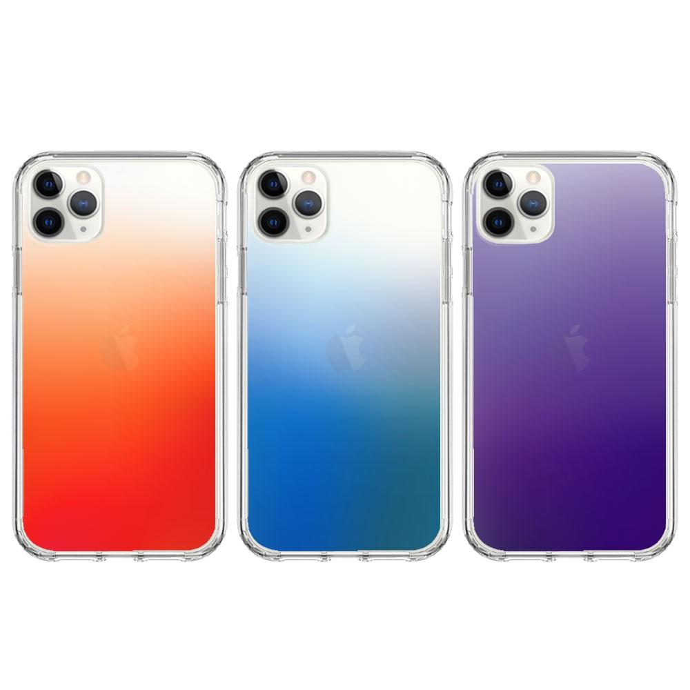 【獨家設計】iPhone 雙料漸層透色四角氣囊防摔保護殼 防震/防撞/氣墊/霧面 漸層橘、漸層藍、漸層紫 全型號