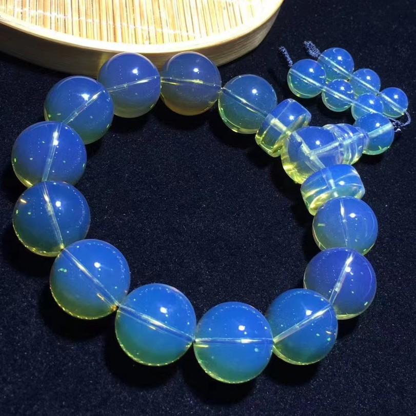 緬甸琥珀《手串》- 15mm金藍珀泛柳青手串 ㊟ 購買前請詳閱商品內文 ㊟