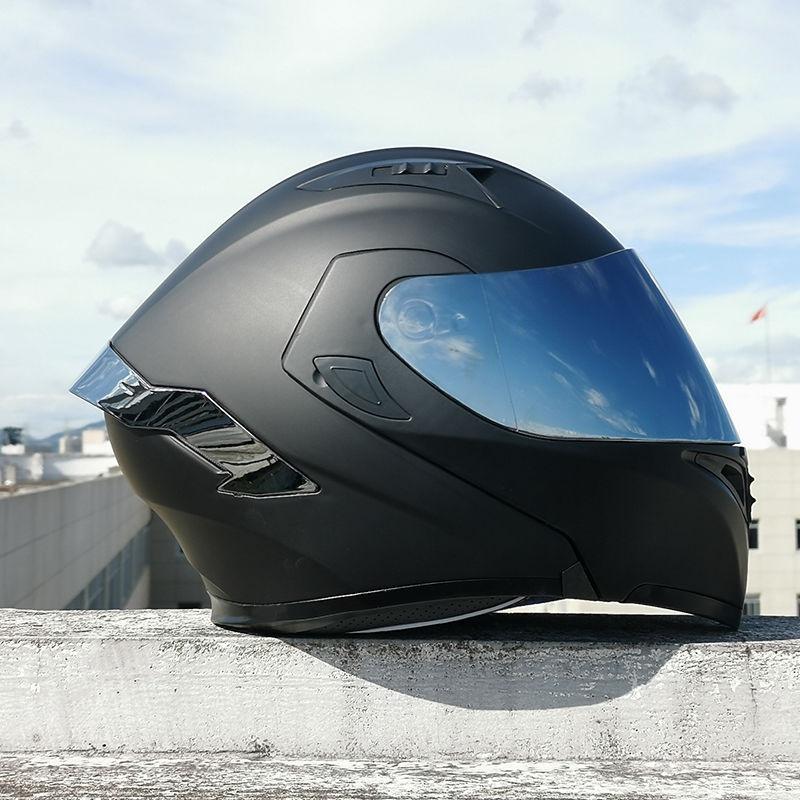 安全帽 頭盔 Orz電動車頭盔男女揭面盔雙鏡尾翼半盔個性電瓶車頭灰四季