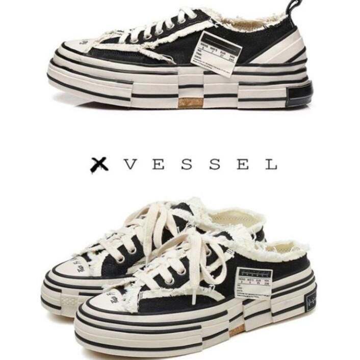 正品代購xVESSEL 解構鞋 帆布鞋 黑色 硫化 吳建豪 LOWS懶人鞋 半托 帆布鞋手工製硫化帆布鞋 男女鞋 厚底鞋
