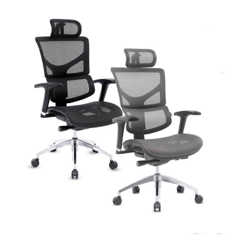 預購 至6/17限量特價 Ergoking  全功能 網布人體工學椅 灰色 黑色 #111286
