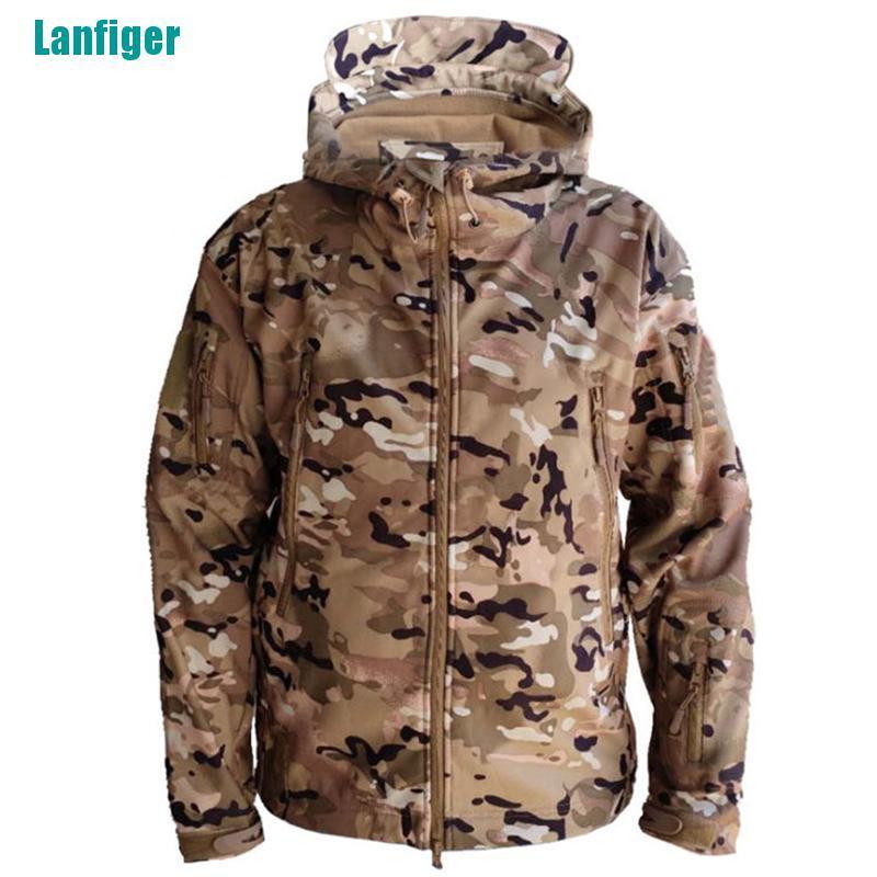 【 Lanfiger 】防水冬季男士戶外夾克戰術外套軟殼軍裝