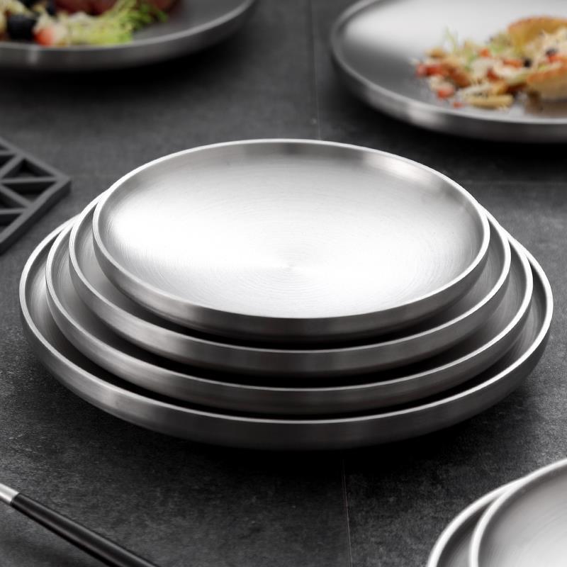 韓國板 8 套 304 不銹鋼雙層板保溫餐盤家用圓盤平板蒸盤