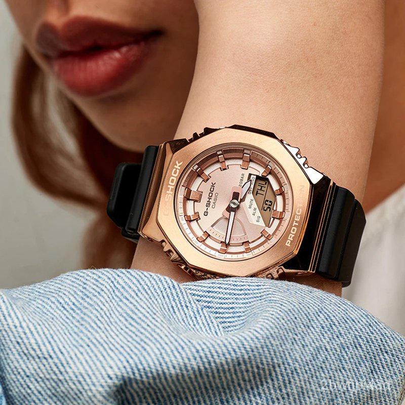 開學季卡西歐G-SHOCK金屬女八角農家橡樹鋼鐵運動手錶GM-S2100PG-1A4 3A Clcd