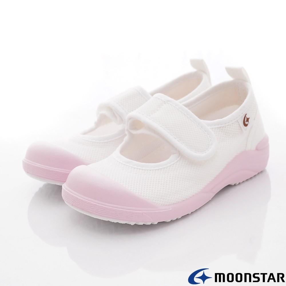 日本月星Moonstar機能童鞋 日本製絆帶室內鞋款 024粉(中小童段)