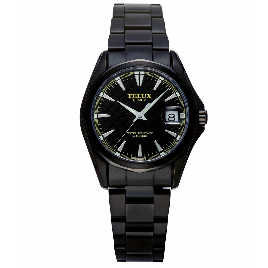 台灣品牌手錶腕錶【TELUX鐵力士】復刻經典男腕錶手錶39MM台灣製造石英錶7000BK-BK16黑鋼帶碳纖面