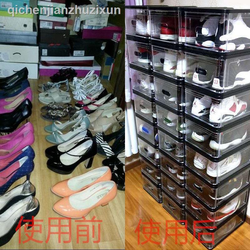 熱銷款 鞋盒鞋柜防塵收納盒學生家門口多功能抽屜式簡易多層透明收納神器