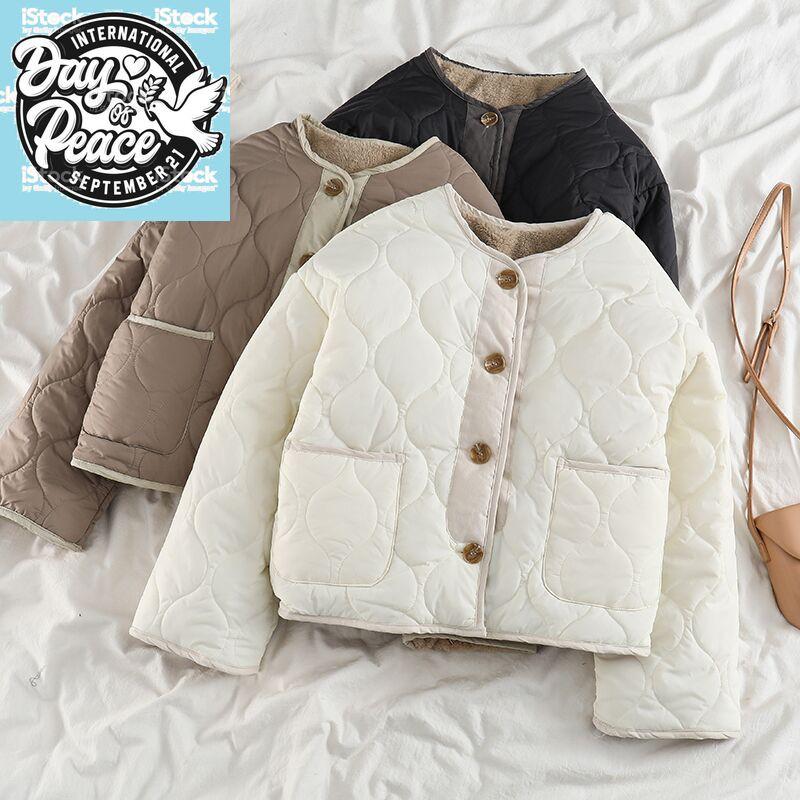 復古正反兩穿外套女羊羔絨冬季新款加厚棉衣ins潮小個子拼接棉服
