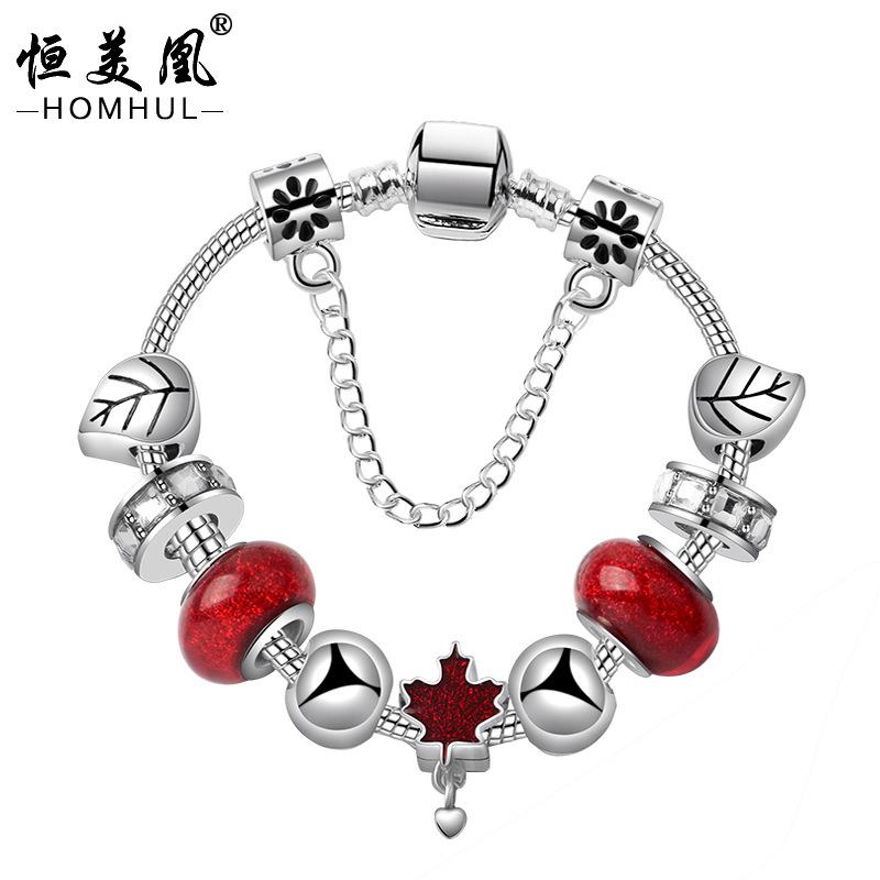 現貨 新款和平紅色楓葉手鍊 DIY原創葉子合金串珠手鐲配飾